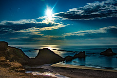 Moonlight Bay (danbriscoephotography) Tags: moon moonlight bay sealrock oregon coast oregoncoast pacific pacificocean ocean beach rocky shore rockyshore clouds beautiful relaxing night pnw
