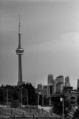 CN Tower (Uta_kv) Tags: homedevelped slr filmcamera blackandwhitephotography supermulticoatedtakumar ilfordhp5 rodinal rangefinder fujicast801 hp5plus1600 hp5 35mm film fujica