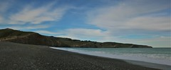 Birdling Flat beach (PalmyLisa) Tags: beach sand stones sea water foam birdlingflat christchurchsouthisland