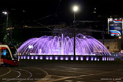 Slavija fountain 2 (srkirad) Tags: belgrade fountain slavija roundabout square night vivid colorful travel serbia srbija tram caf traffic lights dark dramatic