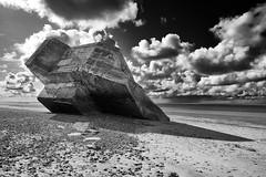 emergency landing (the ripped bystander) Tags: blackwhite seashore normandy blockhaus