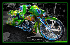 Scary Clowns, Lime Green, Lots of Chrome, Boom Box Ride! (GAPHIKER) Tags: custom motorcycle scary clowns lime green chrome boom box strugis south dakota southdakota happyslidersunday hss selective color scprocessing billet machined rims