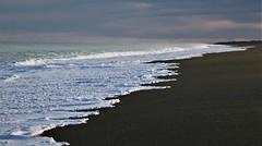 Looking south along the beach. (PalmyLisa) Tags: beach sand stones sea water foam birdlingflat christchurchsouthisland