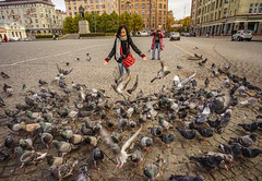 People playing with flock of pigeons in a square (phuong.sg@gmail.com) Tags: asian beautiful bench bird buildings calm city cityscape cycle daily day dove europe flock floor fun green innocence lifestyle lot man moscow old outdoors park people person pigeon public routine russia saintpetersburg scene square stone street summer sunny tiles tourism travel urban wild wings woman yard young