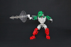 Octan (Ron Folkers) Tags: lego bionicle technic moc octan green red white trans clear fuel blaster