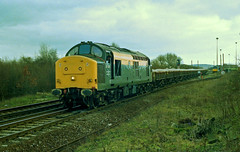 37375 arrives at Hoo Junction with an engineers train on 14-2-96. Copyright Ian Cuthbertson (I C railway photo's) Tags: class37 37375 hoojunction civillink dutchlivery growler engineerstrain