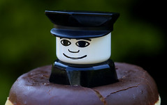 cops and donuts (read text !) (HansHolt) Tags: macro canon dof 100mm 6d canonef100mmf28macrousm macromondays canoneos6d goestogetherlike vintage lego bokeh police plastic donut doughnut cop figure hmm officer duplo chocolate