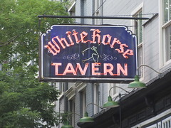 2019 Downtown West Village White Horse Tavern 9007 (Brechtbug) Tags: 2019 downtown westside nyc west village white horse tavern w 11th street hudson st new york city current location manhattan pulp pop culture funnies stores collectable facade store front display window windows organization business books news newspaper paper papers under ground side 08242019 august neon sign
