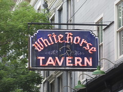 2019 Downtown West Village White Horse Tavern 9006 (Brechtbug) Tags: 2019 downtown westside nyc west village white horse tavern w 11th street hudson st new york city current location manhattan pulp pop culture funnies stores collectable facade store front display window windows organization business books news newspaper paper papers under ground side 08242019 august neon sign