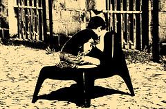(Jean-Luc Léopoldi) Tags: seuil cour pavés boy garçon kneeling chair barreaux soleil bw noiretblanc child enfants