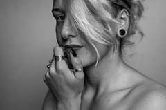 Autoportrait V (~ Jessy S ~) Tags: girl femme woman portrait portraiture selfportrait autoportrait naturallight light black white face visage eyes yeux monochrome nikon nikond750 d750 50mm 18 plug tunnel ears oreilles piercing simple natural hair emotion nikkor