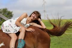 Exquisite Equine Enjoyment (Scott RS) Tags: love horse lady dress country horselover bond smile horsetail beautiful pretty summer bareback boots longhair joy equine friendship enjoyment dear connection