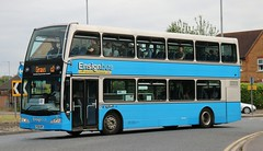 Ensignbus, Purfleet 113 PO58NPK in Chafford Hundred on c2c Rail Replacement duties, Upminster to Grays. (Gobbiner) Tags: chaffordhundred po58npk ensignbus 113 grays eastlancs upminster b9tl c2c railreplacement volvo olympus purfleet