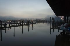 12-731cr (George Hamlin) Tags: virginia neabsco water creek stream docks sky fog mist clouds roof reflections bridge trestle lights photodecor george hamlin photography