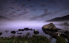 Missed this (Images from the Dark Side) Tags: sunrise morning bluehour llynnaumymbyr wales mist fog lake reflections snowdon flash fillin