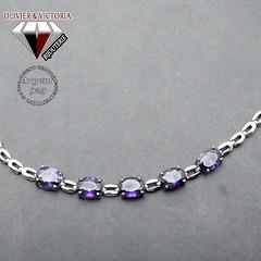 Bracelet 5 pierres violettes d'améthyste et sa chaîne en argent 925 (olivier_victoria) Tags: argent 925 violet améthyste bracelet chaine 5 cinq pierre