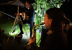 Birthday in the garden (2): And Mathias joins on sax (bohelsted) Tags: em5markii home party family leicadg khørum saxophone live music summilux 15mm