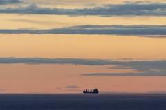 freighter at sunset (charlesgyoung) Tags: finland helsinki charlesyoung nikon nikonphotography nikondx d500 travelphotography gulfoffinland balticsea sunset