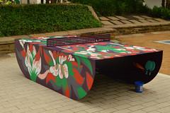 Public Table Tennis (radargeek) Tags: oklahomacity okc downtown tabletennis public art painting flower 2019 august pingpong paddles net
