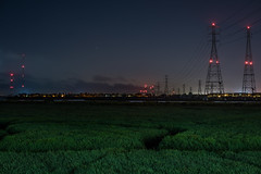 redwood shores power grid (pbo31) Tags: fostercity california sanmateocounty night dark black color nikon d810 august 2019 boury pbo31 power electric lines redwoodshores grid towers