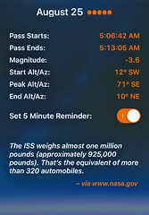NASA's Alert On An ISS Pass Across The Night Sky🌌 (Chic Bee) Tags: iphone7plus apps sky visualizing visualization handheld augmentedreality ar night day backyard astronomy zodiac stars planets mercury venus mars jupiter saturn neptune uranus pluto asteroids internationalspacestation isspasses fov fieldofview skyview skyweek skyguide daynightmap starwalk nightsky skylive spaceimages cosmos cosmology cosmiczoom isspassfinder apod daynight goldenhour lunarsolarcalendar lunarsolcal lunar solar calendar nasa