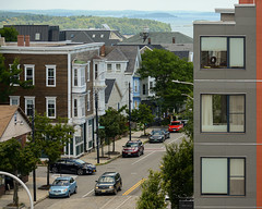 Glimpse of Casco Bay Over Congress Street, from the Portland Observatory (Corey Templeton) Tags: cascobay city eastend munjoyhill newengland portlandmaine portlandobservatory summer