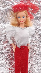 "Barbie Spectacular Fashions ""Red Sizzle"" #7217 from 1983 (VintageZealot) Tags: barbie mattel spectacular fashions 7217 1983 1980s 80s red sizzle dotw dolls of the world canadian 4927 1987 vintage retro fashion doll clothing clothes outfit model modelling blonde caucasian white superstar super star metal snaps elastic sparkly shiny silver sheer pillbox hat grey fur stole scarf sash belt flower decorative dress poofy sleeves blouse peplum open toe heels mules sandals necklace bracelet ring overskirt skirt jewelry top shirt headband head band china over fascinator flared"
