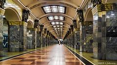 St Petersburg, Russia: Kirovskiy Zavod metro station, Line 1 (Red) - Opened 1955 (nabobswims) Tags: ilce6000 kirovskiyzavod leningradoblast lightroom luminositymasks metro mirrorless nabob nabobswims photoshop ru rapidtransit russia sel18105g sonya6000 stpetersburg station subway ubahn