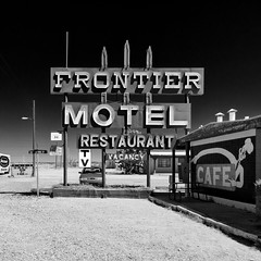 frontier motel / route 66. truxton, az. 2007. (eyetwist) Tags: eyetwistkevinballuff eyetwist mojavedesert motel neon sign decay abandoned arizona route66 frontier frontiermotel truxton kingman deserted lonely closed nikkor nikon d80 nikond80 18200mm 18200mmf3556gvrii square bw black white monochrome blackwhite processed postprocessed plugin alienskinexposure niksilverefex contrast vacancy restaurant cafe american west derelict roadsideamerica americana route 66 motherroad rusty weathered type typography typographic classic vintage mojave desert