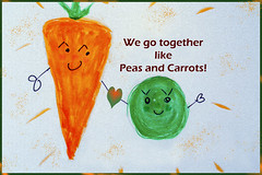 Peas and Carrots (Carol (vanhookc)) Tags: peasandcarrots togetherness complementary digitalprocessing digitalart painterly watercolors photoshopped canvas hss sliderssunday