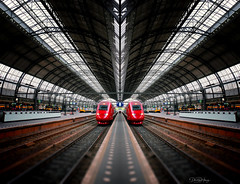 Meet me in the middle (Dan Haug) Tags: amsterdam amsterdamcentraal trainstation terminal antwerpen belgique belgium july 2019 thalys rails leadinglines xt3 xf1655mmf28rlmwr xf1655mm mirrorless fujifilm fujixseries mirrorimage blur