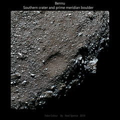 Bennu southern crater and prime meridian boulder  [Large] (TerraForm Mars) Tags: bennu osirisrex nasa esa asteroid