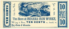 Indiana Iron Works Store Scrip, Indiana, Pa., January 1, 1856 (Alan Mays) Tags: ephemera scrip companyscrip storescrip paper printed indianaironworks indironworks bakerfurnace ironworks companies stores companystores drygoods groceries 10cents tencents villages trains illustrations vignettes flowers borders blue cramer eastwheatfield eastwheatfieldtownship pa indianacounty pennsylvania nineteenthcentury 19thcentury victorian january1 1856 1850s antique old vintage typefaces type typography fonts