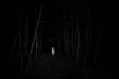 lost in darkness (the ripped bystander) Tags: blackwhite forest darkness female lowkey magic trees