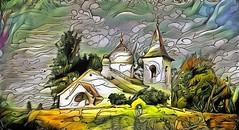 Church in the village of Behovo. Tula region, Russia (V_Dagaev) Tags: church building landscape art architecture digital dynamicautopainter visualdelights painterly painting tularegion russia