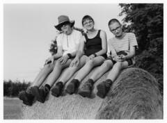 About vacation / O wakacjach (Piotr Skiba) Tags: vacation children hat shoes field girl boys trekking haystack górybystrzyckie joy ilfordfp4 fomafomabromvariant poland pl piotrskiba bw monochrome film eos darkroomprint rest brothers sister