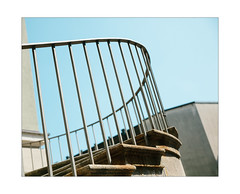 Dawning Diligence (Thomas Listl) Tags: thomaslistl color sky blue bright sun sunlight summer stairs staicase geometry geometric lines curves diagonal handrail rail stripes architecture
