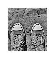 Life's a beach ! (CJS*64) Tags: converse shoes feet sand beach walk walkabouts whiteborder panasoniclx100 panasonic lx100 cjs64 craigsunter cjs blackwhite bw blackandwhite whiteblack whiteandblack