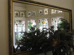 """Reflected Beauty: the Art Nouveau Stained Glass Bay Window of the Dining Room of """"The Gables"""" Queen Anne Villa - Finch Street, East Malvern (raaen99) Tags: thegables housename queenannehouse federationhouse queenannefederationhouse gascoigneestate stainedglass stainedglasswindow stainedglasswindows artnouveaustainedglass artnouveaustainedglasswindow baywindow finchstreet finchst queenannestyle queenanne federation window edwardian edwardiana melbourne victoria australia domesticarchitecture house home architecture melbournearchitecture housing 20thcentury twentiethcentury artnouveau nouveau 1900s 1902 malvern eastmalvern artsandcrafts artsandcraftsmovement artscraftsmovement artscrafts architecturallydesigned beverleyussher henrykemp ussherandkemp ussherkemp lawrencealfredbirchnell lawrencebirchnell detail interior room diningroom fruit leaves vine orange green red flowers floral flora"""