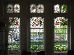 "The Three Art Nouveau Stained Glass Windows of the Drawing Room of ""The Gables"" Queen Anne Villa - Finch Street, East Malvern (raaen99) Tags: thegables housename queenannehouse federationhouse queenannefederationhouse gascoigneestate stainedglass stainedglasswindow stainedglasswindows artnouveaustainedglass artnouveaustainedglasswindow baywindow finchstreet finchst queenannestyle queenanne federation window edwardian edwardiana melbourne victoria australia domesticarchitecture house home architecture melbournearchitecture housing 20thcentury twentiethcentury artnouveau nouveau 1900s 1902 malvern eastmalvern artsandcrafts artsandcraftsmovement artscraftsmovement artscrafts architecturallydesigned beverleyussher henrykemp ussherandkemp ussherkemp lawrencealfredbirchnell lawrecebirchnell detail interior room drawingroom lounge"