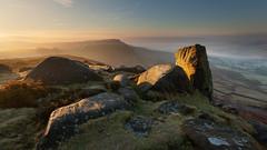 Curbar Edge Sunrise (Paul Newcombe) Tags: curbaredge england sunrise uk landscape sidelight mist vista derbyshire britnatparks gritstone edge rocks geology nationalpark