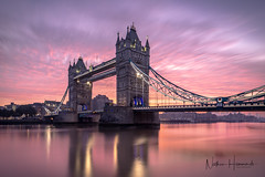 Tower Bridge Sunrise (Nathan J Hammonds) Tags: london tower bridge sunrise thames long exposure pink sky nd filters irex nikon early start lights morning day out uk
