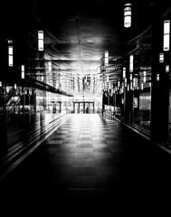 Place Des Arts Corridor (Montreal) (MassiveKontent) Tags: reflections bwphotography streetshot architecture geometric lines placedesarts montreal bw contrast city monochrome urban blackandwhite montréal quebec canada photography shadows noiretblanc blancoynegro metal symmetry noir silhouette corridor hallway glass lightsandshadows