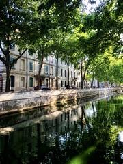 Quai de la Fontaine (marc.barrot) Tags: trees shotoniphone urbanlandscape reflection france midi gard 30 nîmes quaidelafontaine