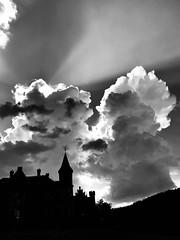 Mystic clouds over the castle... (anubis131) Tags: himmel sky natur nature castle schloss artphotography iphotograph wetter weather storm gewitter wolken clouds schwarzweis bw blackandwhite iphone7 triefenstein freudenberger anubis13