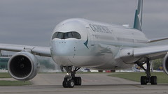 Cathay Pacific A350 taxiing at Manchester Airport (MT Productions) Tags: cathay pacific planes plane planespotting airbus a350 airplane aircraft airliner jet engine wings windows manchester airport ringway international united kingdom england great britain runway taxiing departure cloudy sunny wheels passenger