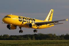 N605NK spirit A320-232 at KCLE (GeorgeM757) Tags: n605nk spirit kcle aviation landing georgem757 airbus sunset 6l canon70d a320232 clevelandhopkins