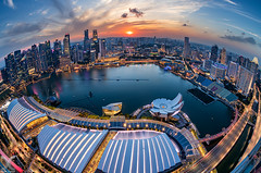 Planet Singapore (DanielKHC) Tags: singapore asia marinabaysands mbs skypark cbs centralbusinessdistrict sunset clouds colors nikon d850 fisheye nikkor16mmfisheye scienceartmuseum helixbridge digital blending cityscape