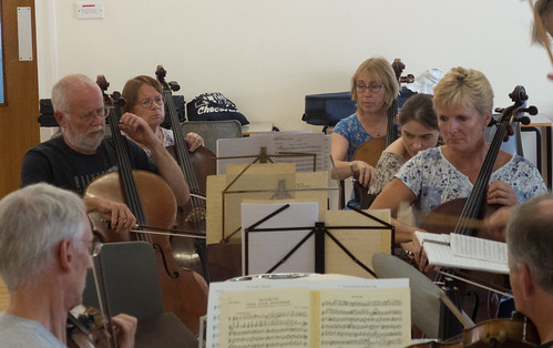 DSCN4620c Players from Ealing Symphony Orchestra rehearsing for an informal concert as part of the Brill Festival. 24th August 2019.
