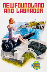 Newfoundland and Labrador, 1959 Canadian tourism poster (gameraboy) Tags: newfoundland labrador 1959 canada tourism poster 1950s vintage travel posterart art illustration cannon gun lighthouse